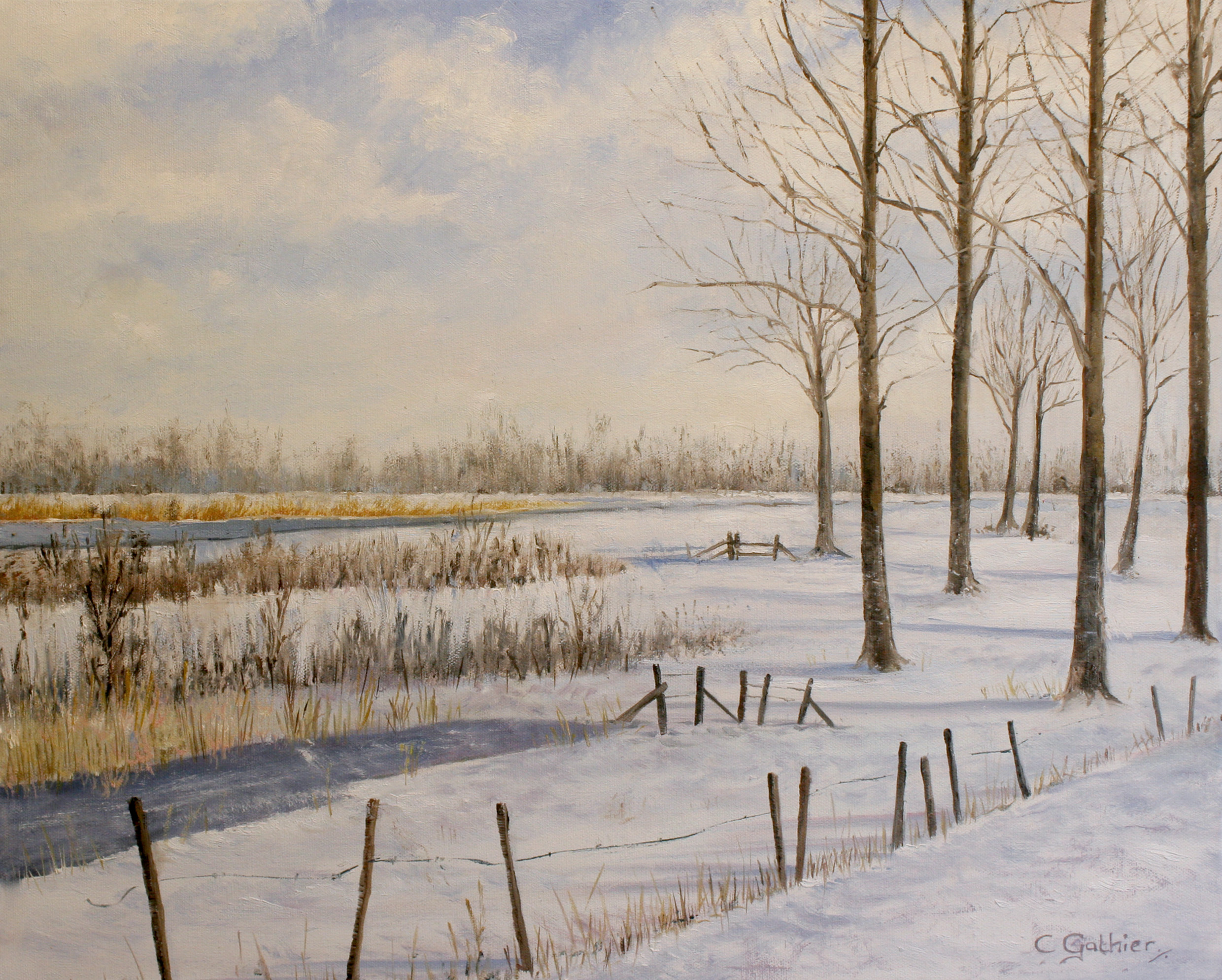 winterlandschap olieverf catherine gathier